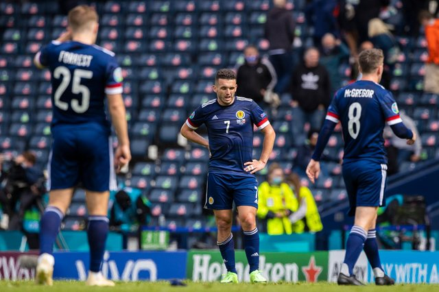 Scotland's John McGinn is left dejected at full time after the Euro 2020 defeat to Czech Republic at Hampden Park (Photo by Craig Williamson / SNS Group)