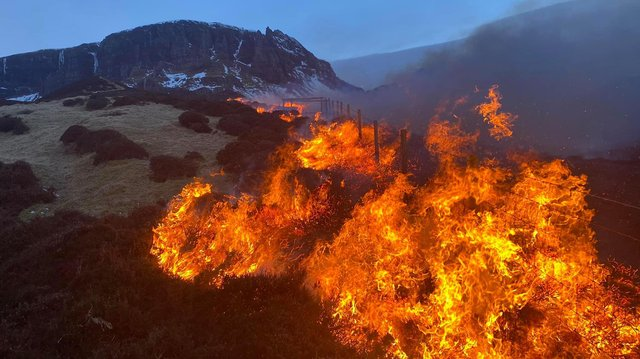 Dramatic pictures show wildfire at Quiraing mountain on the Isle of Skye on Saturday night  picture: Scott J MacLucas-Paton