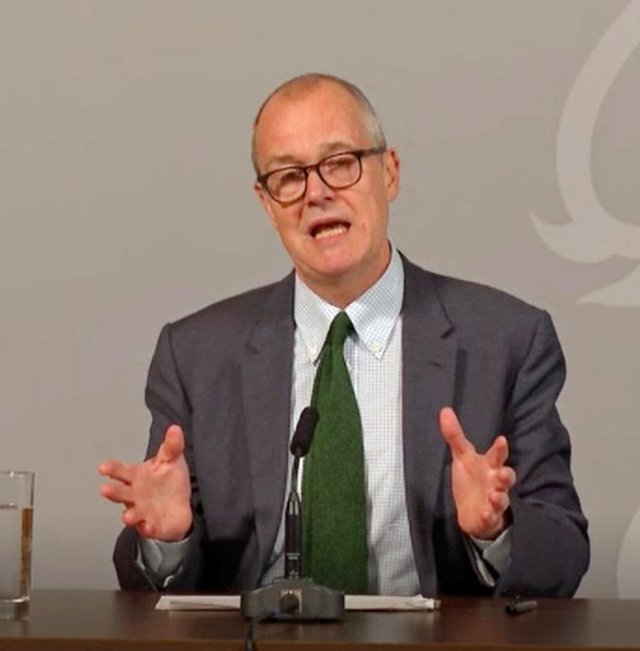 Sir Patrick Vallance speaking at a Downing Street briefing to explain how the coronavirus is spreading in the UK and the potential scenarios that could unfold as winter approaches.