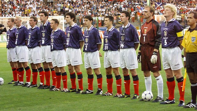 Scottish players pose for the official team picture, 23 June at the Stade Geoffroy Guichard in Saint-Etienne, central France, before the 1998 Soccer World Cup Group A first round match between Scotland and Morocco.