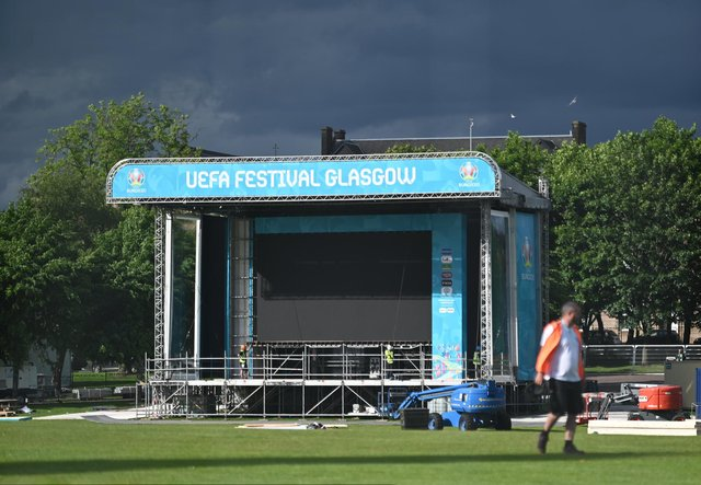 The Fan Zone for EURO 2020 is being built in Glasgow Green as preparations are ramped up ahead of kick off. A giant tv screen is installed for fans.