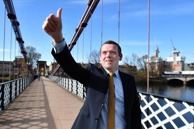 Scottish Conservative leader Douglas Ross on election campaign trail.