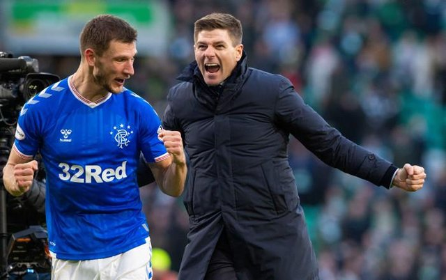 Steven Gerrard celebrates with Borna Barisic after Rangers' 2-1 win at Celtic Park on December 29, 2019. (Photo by Alan Harvey / SNS Group)