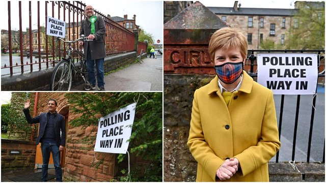 The leaders of three of Scotland's largest parties greet voters as they go to the polls for the Parliament election (Getty Images)