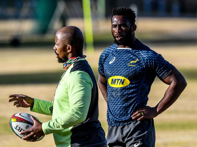 Springboks assistant coach Mzwandile Stick, left, with captain Siya Kolisi who will miss the South Africa A match against the Lions after testing positive for Covid.