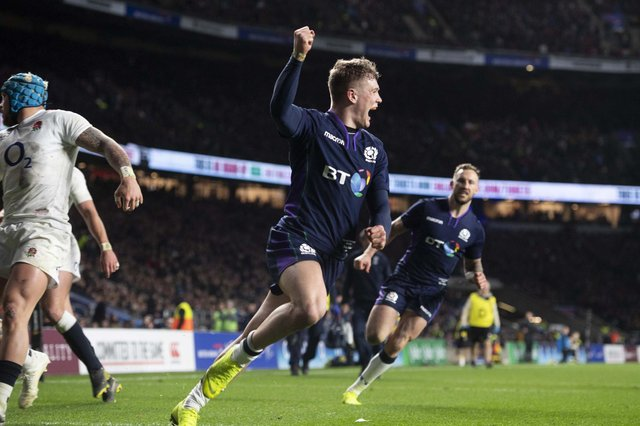 Scotland's Darcy Graham celebrates his second try in the stunning 38-38 draw with England at Twickenham in 2019. Picture: Gary Hutchison/SNS