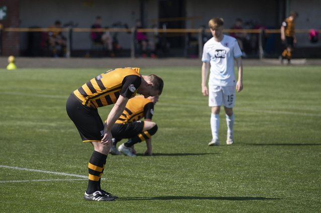 Alloa's Steven Hetherington can't hide his dejection after the Wasps' relegation was confirmed.