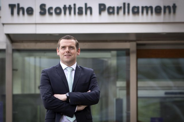 Douglas Ross outside the Scottish Parliament on Sunday