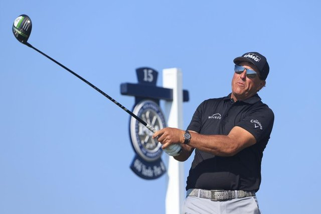 Phil Mickelson plays his shot from the 15th tee during the second round of the 2021 PGA Championship at Kiawah Island Resort's Ocean Course in Kiawah Island, South Carolina. Picture: Sam Greenwood/Getty Images.