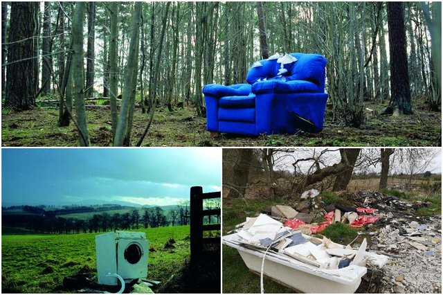 Photos sent in from Keep Scotland Beautiful showing items dumped in green spaces surrounding Glasgow