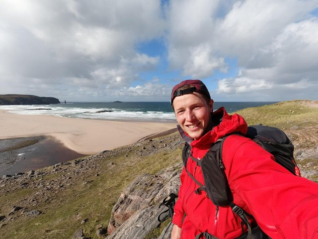 Matt Girvan, picturd here at Sandwood Bay, who smashed the record for hiking 500 miles and the length of Scotland - but had to walk another 16 miles with trench foot to catch a bus - after his ferry was cancelled.