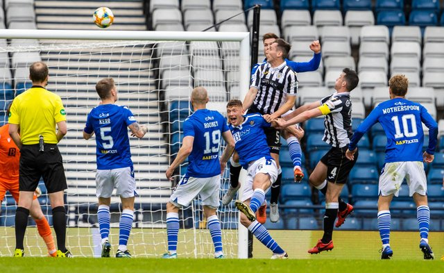 """St Mirren's Conor McCarthy heads home to make it 2-1  in his team's Scottish Cup semi-final loss to St Johnstone - a defeat he says has made them the """"nearly men"""" this season.(Photo by Alan Harvey / SNS Group)"""