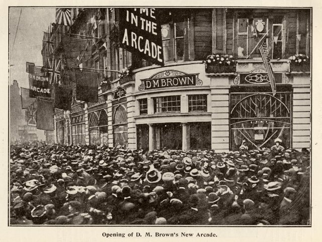 The opening of Brown's shopping arcade in Dundee in 1908 attracted quite the crowd. PIC: Archive Services, Dundee University.