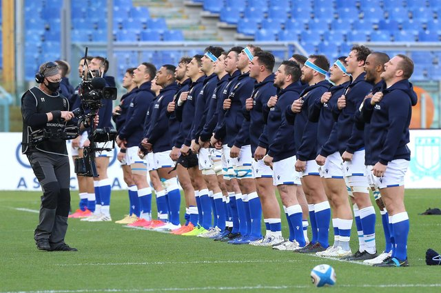 Italy's players line up for the national anthem prior to the Guinness Six Nations match against Wales in Rome. Picture: Paolo Bruno/Getty Images