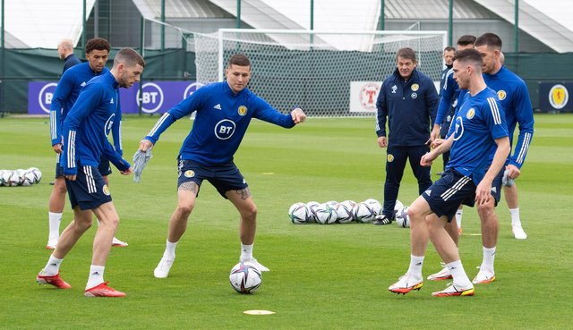 Scotland stars in training ahead of Wednesday night's match with Denmark. Picture: SNS