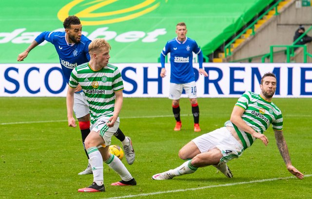 Rangers' Connor Goldson (left) sees his effort blocked by Celtic's Shane Duffy  prior to scoring his club's second  in the win last October that was their second straight derby success at the home of their rivals . (Photo by Alan Harvey / SNS Group)