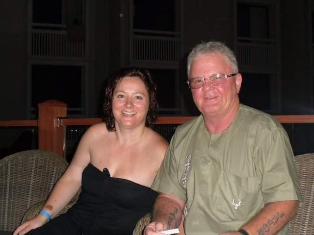 Nurse Carole and her father Robert on holiday together.