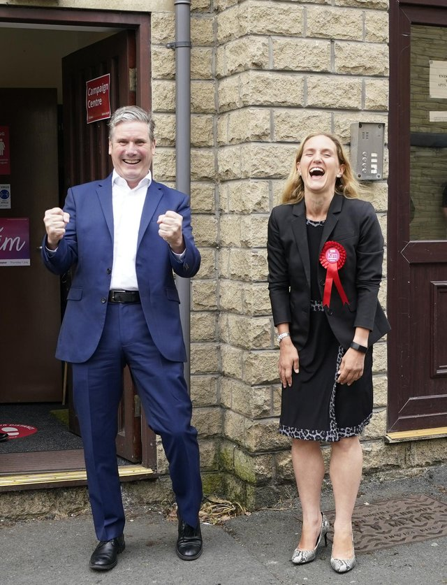 Labour party leader Keir Starmer was celebrating with Kim Leadbeater in Clackheaton after she won the Batley and Spen by-election.