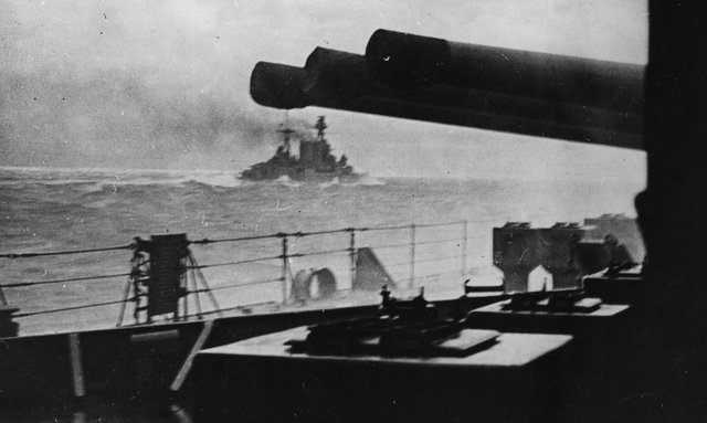 The last picture of HMS Hood, seen from HMS Prince of Wales, as she went into action against the German battleship Bismarck (Picture: Keystone/Getty Images)