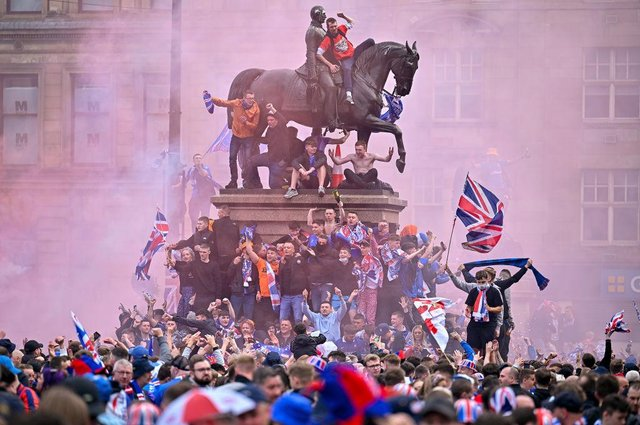 An estimated 15,000 fans descended on Ibrox and Glasgow's George Square, with fresh scenes of disorder taking place – including reports of fighting, public drunkenness and sectarian chanting.