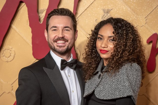 Martin Compston, pictured with his wife Tianna Chanel Flynn, is a huge Josh Taylor fan.  Picture: Chris J Ratcliffe/Getty Images