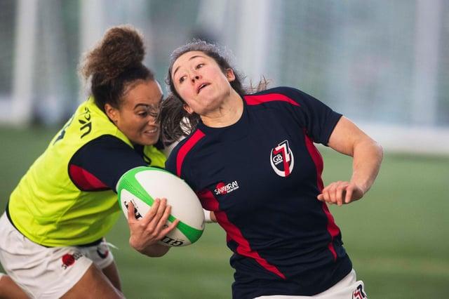 Rhona Lloyd scored a hat-trick for the Team GB sevens team against Ireland. Picture: Paul Devlin/SNS