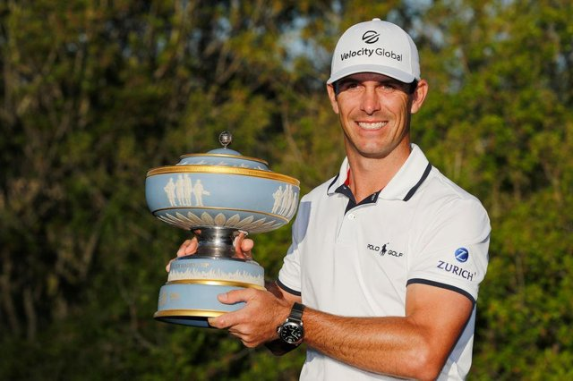 Billy Horschel celebrates with the Walter Hagen Cup after winning the World Golf Championships-Dell Technologies Match Play at Austin Country Club in Texas. Picture: Michael Reaves/Getty Images.