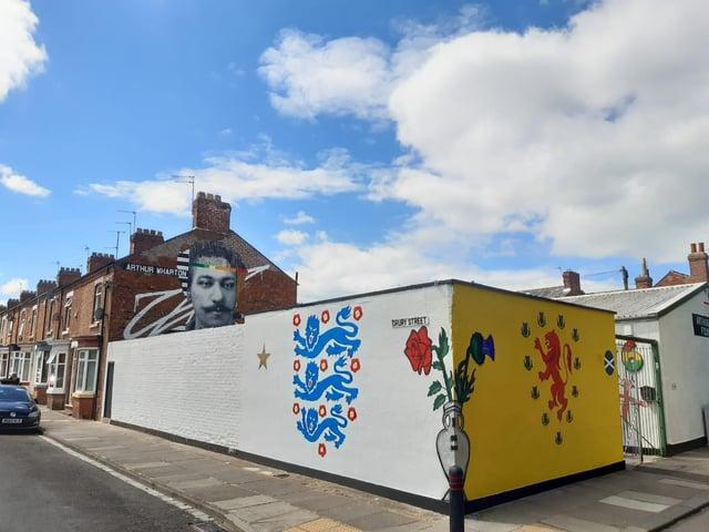 The mural of Arthur Wharton in Darlington.