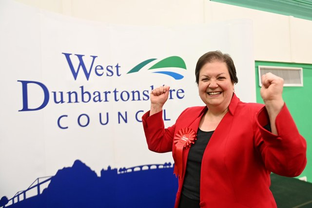 Labour's Jackie Baillie celebrates holding her seat, a result that prompted Liberal Democrat Christine Jardine to cheer out loud while walking her dog (Picture: John Devlin)