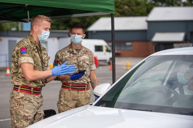 Nearly 100 soldiers, mainly from the Royal Scots Dragoon Guards, are being deployed by the British Army to help set up 80 new vaccination centres across Scotland