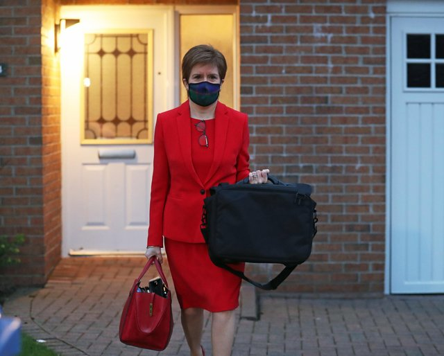 Nicola Sturgeon leaves her home in Glasgow to head to Holyrood in Edinburgh to give evidence to the Scottish Parliament's inquiry into her government's unlawful investigation of the former First Minister Alex Salmond.