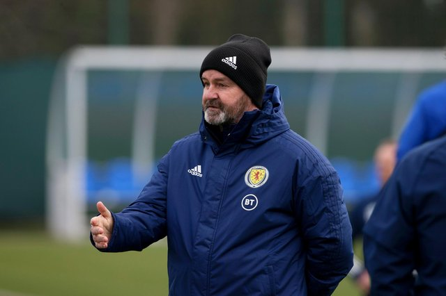 Scotland head coach Steve Clarke during a Scotland training session at Oriam ahead of the World Cup qualifier against Austria. Pic: SNS