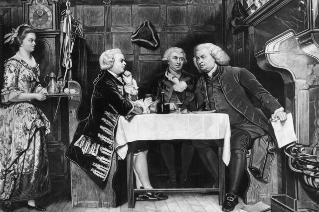 British lexicographer and writer Dr Samuel Johnson (1709-1784), with his Scottish biographer James Boswell (1740-1795) and the Irish writer Oliver Goldsmith (1728-1774) at the Mitre Tavern in an illustration by Eyre Crowe (Picture: Rischgitz/Getty Images)