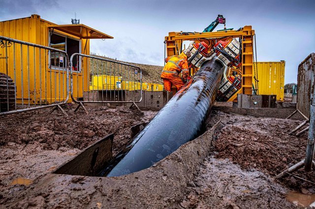 The work has seen the installation of 650 metres of plastic ducting underneath Thorntonloch Beach, near Dunbar, as part of the construction of the Neart na Gaoithe offshore wind farm. Picture: Peter Devlin