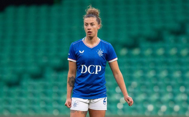 GLASGOW, SCOTLAND - APRIL 21: Nicola Docherty in action for Rangers during a SWPL match  between Celtic and Rangers at Celtic Park, on April 21, 2021, in Glasgow, Scotland. (Photo by Craig Foy / SNS Group)