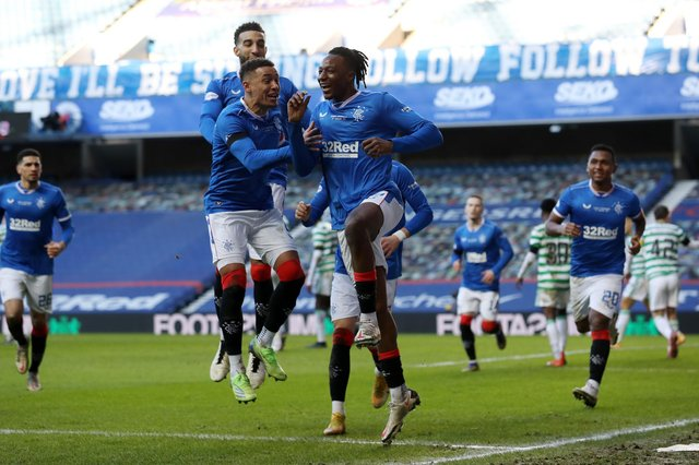 Rangers captain James Tavernier celebrates with Joe Aribo after the only goal of the 1-0 win against Celtic at Ibrox on January 2. (Photo by Ian MacNicol/Getty Images)
