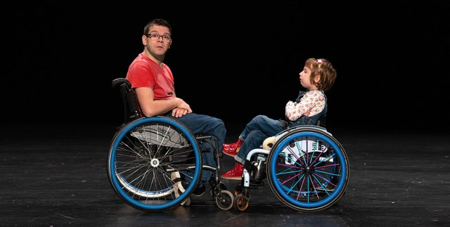 Robert Softley Gale and Oona Dooks in The Super Special Disability Roadshow PIC: Chris Dooks