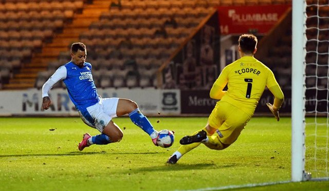 Jonson Clarke-Harris scoring for Peterborough United against Plymouth Argyle. Picture: Getty