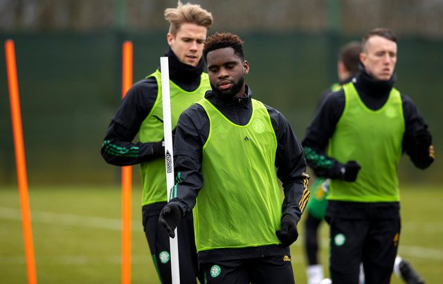 GLASGOW, SCOTLAND - MARCH 05:  Odsonne Edouard during a Celtic training session at Lennoxtown , on March 05, 2021, in Glasgow, Scotland. (Photo by Craig Williamson / SNS Group)