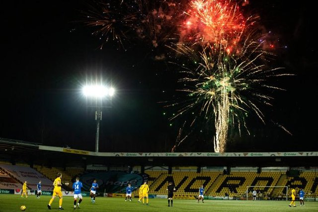 Fireworks were set off outside the Tony Macaroni Arena in the 55th minute of Rangers' 1-0 win over Livingston. (Photo by Alan Harvey / SNS Group)