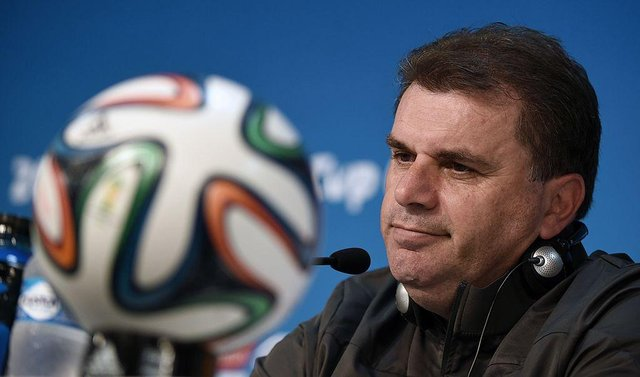 Australia's coach Ange Postecoglou speaks at a press conference after the team's final training run in Cuiaba, Brazil, on June 12, 2014.  Ahead of Australia taking on Chile in their first match.   (WILLIAM WEST/AFP via Getty Images)