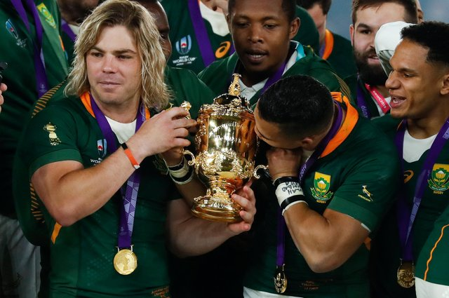 World Cup-winning scrum-half Faf de Klerk, left, is in the South Africa A team to play the Lions. Picture: AFP via Getty Images