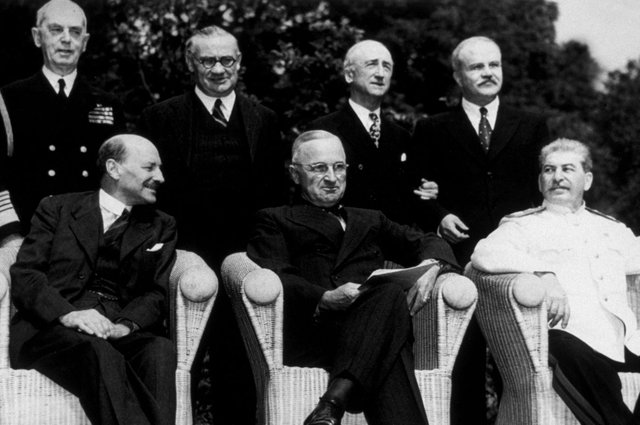 In the 1945 election, voters backed Labour and Clement Attlee, seen with US President Harry S Truman and Soviet dictator Joseph Stalin at the Potsdam conference in August 1945, amid high hopes for the post-war period, but five years later they returned to Winston Churchill's Conservatives (Picture: Keystone/Getty Images)