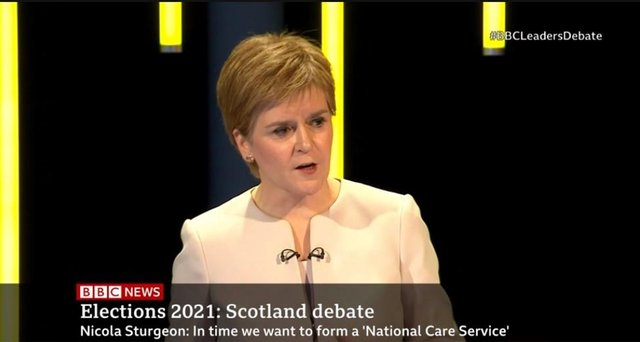 First Minister Nicola Sturgeon during the debate. Picture: BBC Scotland