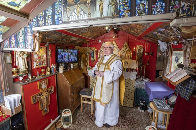 Shed heaven:  Father Len Black in his shed, the Oratory of St Joseph, in Inverness