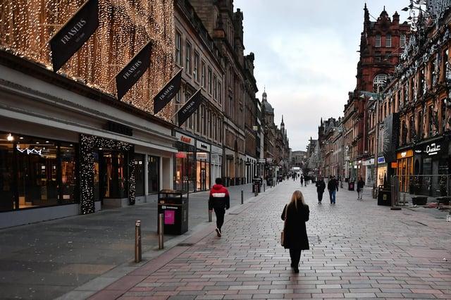 Glasgow city centre during coronavirus lockdown tier 4. Picture: John Devlin