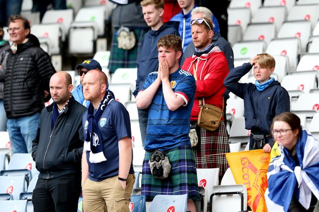 Fans look dejected after Scotland's Euros loss to the Czech Republic at Hampden Park (Picture: Robert Perry/Getty Images)