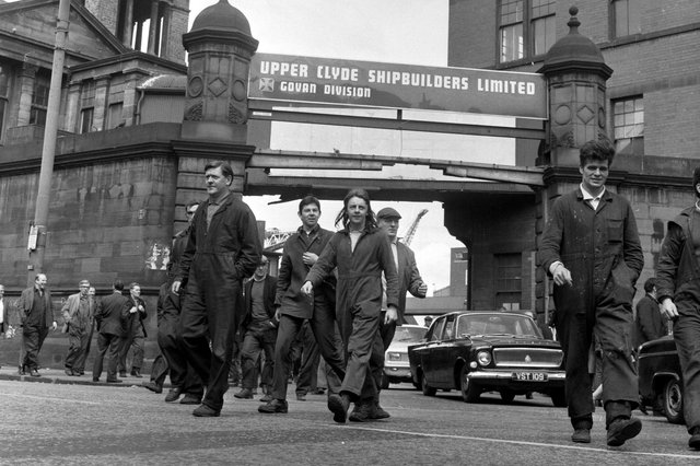 Shipyard workers outside the gates of the Govan division of the Upper Clyde Shipbuilders in June 1971.
