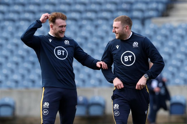 Stuart Hogg, left, will replace Finn Russell at stand-off for Scotland against Italy on Saturday. Picture: Jane Barlow/PA