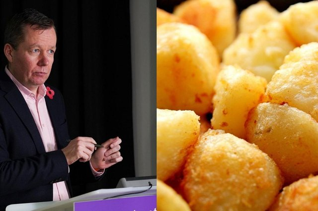 Jason Leitch warns public of communal potato bowl during Christmas dinner but says not to worry about wrapping paper.